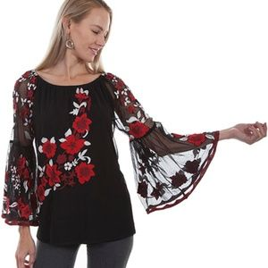 Beautiful Black Tunic with Embroidered Roses